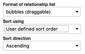 Sort order and format of relationship